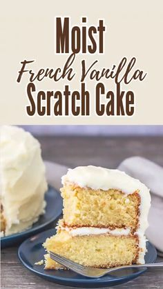 You'll want to make this moist french vanilla cake from scratch every day. Add this fluffy cake to your best cake recipe list because it's sure to be a favorite. This cake is super moist and jam packe French Vanilla Cake Recipe From Scratch, Cake Recipes From Scratch, Best Cake Recipes, Dessert Recipes, Vanilla Cake Recipes, Best Vanilla Cake Recipe Moist, French Vanilla Cupcakes, Vanilla Desserts, Homemade Vanilla