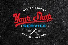 Vintage Auto Shop Auto Body Auto Service Logo by WAGlacierGraphics