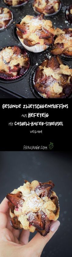 Gesunder Zwetschgenkuchen aus Hefeteig mit Cashew-Hafer-Streusel Healthy plum cake made from yeast dough with cashew-oat-streusel vegan, with wholemeal spelled flour and very little sugar … Good Healthy Recipes, Vegan Recipes Easy, Sweet Recipes, Plum Recipes, Sweet Breakfast, Breakfast Dessert, Vegetarian Facts, Easy Desert Recipes, Vegan Party Food