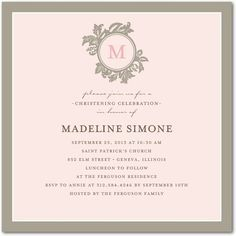 Symbolic Stamp: Chenille - Baptism, Christening Invitations in Chenille | Elm and Gray