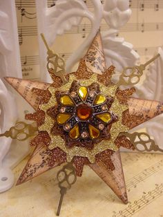 Altered Art, Steampunk Style, Assemblage Christmas Ornament.