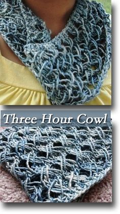 Three hour cowls are fabulous patterns to have. You can whip up a ton of these for the holidays!