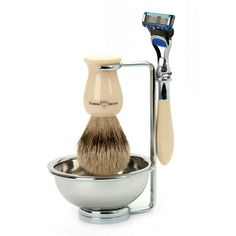 Plaza Ivory, Fusion Pro-glide Shaving Set:  This exquisite four piece Plaza shaving set comprises imitation ivory & chrome Gillette, Fusion Pro-glide razor. Super badger shaving brush, chrome plated double wire stand and shaving bowl.