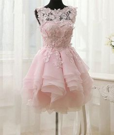 Pink lace short prom dress. pink homecoming dress - shdress