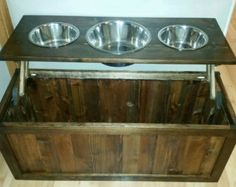 Raised dog feeder with storage elevated feeder dog by LilBitRustic