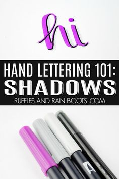 A fun skill to learn is hand lettering shadows. Grab some pens and let's get started with this hand lettering tutorial to add shadows to your work. Hand Lettering 101, Hand Lettering For Beginners, Hand Lettering Tutorial, Hand Lettering Practice, Hand Lettering Alphabet, Brush Lettering, Calligraphy Letters, Modern Calligraphy Tutorial, Med Student
