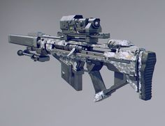 A sniper rifle inspired by xcom, destiny and borderlands Sci Fi Weapons, Weapon Concept Art, Fantasy Weapons, Weapons Guns, Guns And Ammo, Borderlands, Rpg Cyberpunk, Future Weapons, Cool Guns