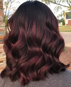Subtle Merlot Balayage Wavy Hair hair color 45 Shades of Burgundy Hair: Dark Burgundy, Maroon, Burgundy with Red, Purple and Brown Highlights Hair Color Auburn, Auburn Hair, Ombre Hair Color, Hair Color Dark, Hair Color Balayage, Hair Colors, Color Black, Balayage Hairstyle, Brunette Color