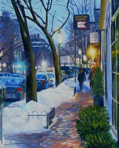 Winter Evening on Charles Street - painting by Sue Birkenshaw
