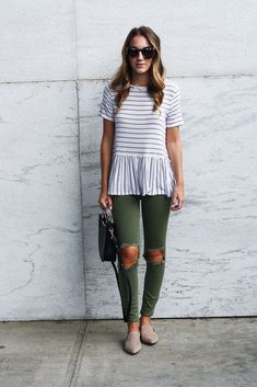 Love love love this shirt. The stripes in multiple directions and the flare at the bottom.