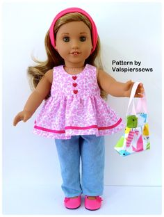 Baby Doll Pinafore Dress. Fits 17 baby doll and 18 dolls. Pattern Only. Instant PDF download. This pattern includes 3 styles. 1. The buttoned pinafore, 2. The tie shoulder sundress, and 3. The plain bodice dress. Also included: * Pictorial tutorial instructions to print out. *