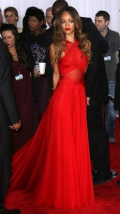 Rihanna - Grammys 2013; BEST DRESSED in my book for 2013 Grammys - she pulls off simplicity nicely in a bold, sexy red pliments her warm skin tone and hair