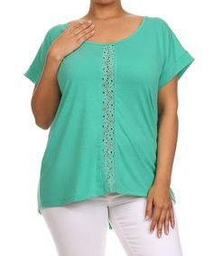 Look at this #zulilyfind! Green Bow Scoop Neck Top - Plus #zulilyfinds