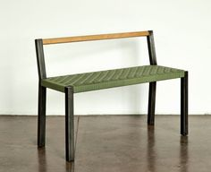 Halsey Love Bench. walnut/maple, olive/black canvas, blackened steel. Pete Oyler.