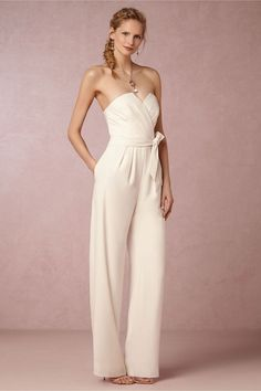 Nobody said a romper must be shorts.  The jumpsuit is merely a romper with long legs :)  Kind of in love with this option for an elopement or a vow renewal!  Gorgeous and so chic! Found this lovely Lola Jumpsuit on BHLDN.