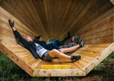 Trio of mammoth timber funnels designed by students to magnify sounds in Estonia forest, and double up as a space for ramblers to contemplate and rest