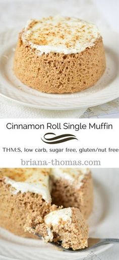 Cinnamon Roll Single Muffin...THM:S, low carb, sugar free, gluten/nut free...Briana's Baking Mix option