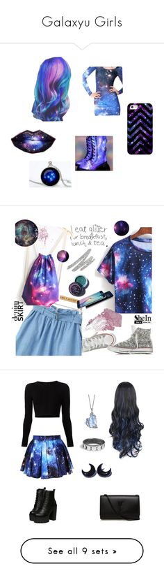 """""""Galaxyu Girls"""" by nm17853 on Polyvore featuring art, Converse, B. Ella, Topshop, Lime Crime, Too Faced Cosmetics, Urban Decay, Sheinside, denimskirt and shein"""