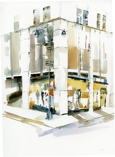 Shop Corner, a watercolor by Anne Watkins