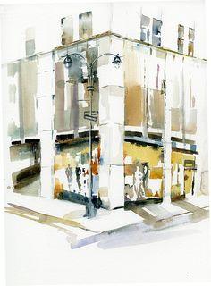 Shop Corner, a watercolor by Anne Watkins