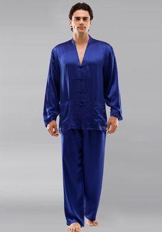 e90929ef0c Silk men nightwear pajamas--Navy-Blue pajamas  Silk  pajamas