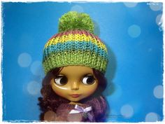 BLYTHE, Pullip, SD, SD+ Hat - Knitted Multicolor Green, Yellow, Blue and Pink Hat With Pompom #12 by MPdollWorld on Etsy