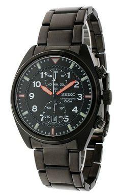 Montre Homme Seiko SNN237P1, boîtier et bracelet acier noirs, cadran noir, indexes argentés, fonction chronographe et date.