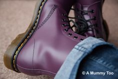 Back in 'the day', before I got a bit boring, I used to skip around in brightly coloured tights, Dr Martens boots and all manner of weird and wonderful dresses. Dr. Martens, Dr Martens Boots, Doc Martens Outfit, Purple Outfits, Colored Tights, Cool Style, My Style, All Things Purple, Shoes