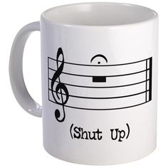 Shop Shut Up (in musical notation) 11 oz Ceramic Mug designed by The Store of Strange Things. Lots of different size and color combinations to choose from. Cute Mugs, Funny Mugs, Music Jokes, Band Jokes, Music Gifts, Shut Up, Music Stuff, Music Things, Music Is Life