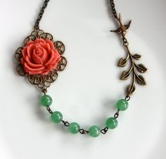 A Coral Rose Flower, Aventurine Gemstone Beads, an Oxidized Branch, Flying Swallow, Necklace. Bridesmaid Gifts