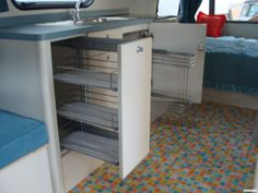 Retro Trailer Interior, great use of space! - Timeless Caravans NZ