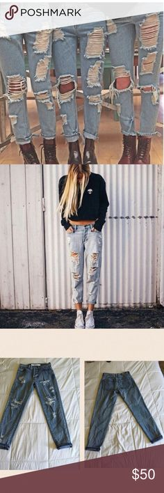 Brandy Melville distressed boyfriend jeans Worn once. So cute! I don't trade!!. Price firm Brandy Melville Jeans Boyfriend