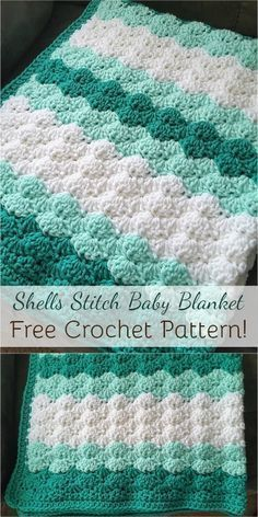 Crochet Shell Blanket, Crochet Baby Blanket Beginner, Crochet Baby Blanket Free Pattern, Crochet Shell Stitch, Easy Crochet Patterns, Crochet Blankets, Crochet Shell Pattern, Crochet Baby Afghans, Crochet Ideas