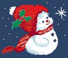 Snowman No.2 free cross stitch pattern