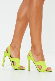 Missguided Neon Yellow Sporty Sling Back Mules Neon Yellow Shoes, Yellow Sandals, Stilettos, Stiletto Heels, Bali Fashion, Beautiful High Heels, Evening Shoes, Slingback Sandal, Cheap Shoes