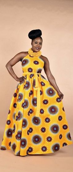 Pamyellow-Ruffle Maxi Dress. Stay Fabulous in this Maxi dress. This dress has been carefully handcrafted to perfection, the neck ruffles is the best part of the dress. African print Maxi dress with chiffon ruffles. Ankara | Dutch wax | Kente | Kitenge | D