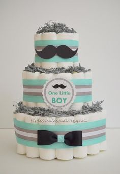 Little man Baby shower/ Mustache baby shower/ Bow tie/ Diaper cake for Boys/ Little Man/ Mint and Gray/ Boy baby shower/Gift for baby boy, Unique Baby Shower Themes, Baby Shower Cakes For Boys, Baby Shower Niño, Baby Boy Cakes, Baby Shower Decorations, Mustache Baby Showers, Mustache Diaper Cake, Diaper Cake Boy, Diaper Cakes