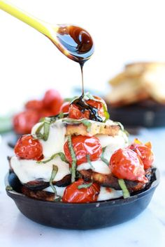 Blistered Tomato Grilled Toast Caprese Nachos with Balsamic Glaze