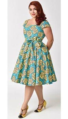 Plus Size Retro Style Aqua & Yellow Roses Cap Sleeve Anna Swing Dress at Diyanu Source by acelinehuff African Dresses Plus Size, Short African Dresses, African Print Dresses, Plus Size Dresses, African Fashion Ankara, Latest African Fashion Dresses, African Print Fashion, African Print Dress Designs, Shweshwe Dresses