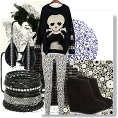 A fashion look from October 2012 featuring long sleeve sweaters, button-fly jeans and black ankle booties. Browse and shop related looks.