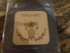 FOND MEMORIES,  COUNTED CROSS STITCH, DOUBLE PINEAPPLE SWITCH PLATE #FONDMEMORIES.  eBay item number:131664064852