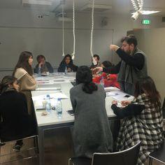Jury in full swing for Designer Fabrics, fall 2015 with Guitta Melki. Student: Dana.