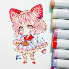 Anime art, manga art и kawaii drawings. Dibujos Anime Chibi, Cute Anime Chibi, Kawaii Chibi, Kawaii Art, Kawaii Anime, Marker Kunst, Copic Marker Art, Copic Art, Brush Markers