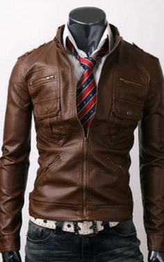 Zip Pocket Light Brown Leather Jacket