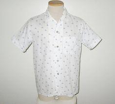 "Vintage 1950s Shirt / 50s Novelty Print Shirt / 50s White Shirt Designer Original By Marlboro ""Papa Goes Cycling"" Americana Etching - M by SayItWithVintage on Etsy"
