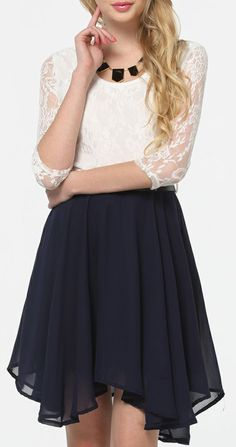 SheIn offers White Half Sleeve Lace Contrast Navy Chiffon Belt Dress & more to fit your fashionable needs. Pretty Outfits, Pretty Dresses, Cute Outfits, Belted Dress, Chiffon Dress, Lace Chiffon, Types Of Dresses, Short Dresses, Latest Dress