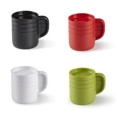 Cuppa stacks up and divides into 4 measure cup sets.