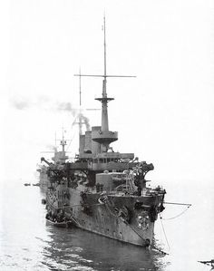 """""""Pobeda"""", at anchor probably about March 1904. Pobeda, (Russian: Победа), was the last of the three Peresvet-class pre-dreadnought battleships built for the Imperial Russian Navy at the end of the 19th century. During the Russo-Japanese War of 1904–1905, she participated in the battles of Port Arthur and the Yellow Sea. Pobeda was sunk by gunfire during the Siege of Port Arthur, and then salvaged by the Japanese and placed into service under the name """"Suwo"""" (周防)."""