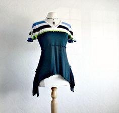 Women's Black Top V-Neck Shirt Bohemian Tunic Blue Green Stripes Eco Clothes M/L
