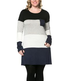 Look what I found on #zulily! Gray & Navy Color Block Tunic - Plus by Celeste #zulilyfinds